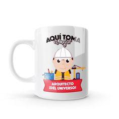 Mug - Aquí toma el mejor arquitecto del universo, encuentra este producto en nuestra tienda online y personalízalo con un nombre o mensaje. Ing Civil, Chocolate Caliente, Amai, Snoopy, Mugs, Tableware, Shape, Birthday Greetings, Messages