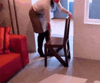 Smart ladder seat-This is what you need for your kitchen (Gif)