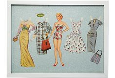 Framed Grace Kelly Paper Doll  could make a really cute version of these with vintage fabric background and distressed frames for the girls