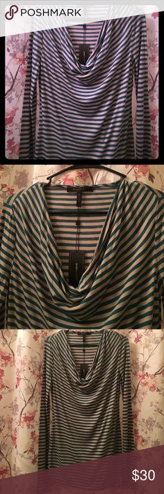 💕BCBGMAXAZRIA tunic top green/beige size Small Long sleeve drop neck green and beige striped BCBGMAXAZRIA top with tag. New, long tunic style, synthetic rayon blend, very soft and lightweight, not see through BCBGMaxAzria Tops Tees - Long Sleeve