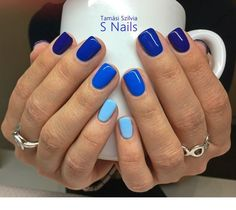 98 beautiful and amazing nail art for the summer page 11 - Nageldesign - Fancy Nails, My Nails, Blue Shellac Nails, Star Nails, Manicure Colors, Gel Nail Colors, Gel Color, Acrylic Nails, Dipped Nails