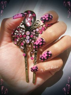 Pink and black side checker board with pink rhinestone.