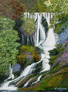 """""""Emerging Spirit"""" by Nuala Holloway - Oil on Canvas Irish Art, Countryside, Oil On Canvas, Waterfall, Beautiful Places, Spirit, Landscape, Outdoor, Outdoors"""