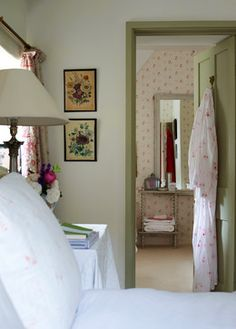 Brook Cottage - farmhouse bed & bath with green trim