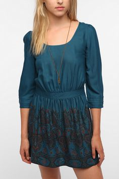 Ecote Mixed Media Soft Woven Dress  #UrbanOutfitters perfect dress to layer with