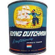 Large Vintage Flying Dutchman Tobacco Can Tin Paper Label 7 Oz