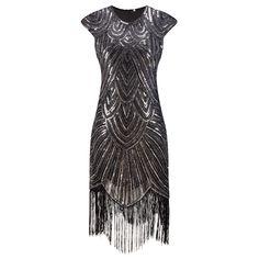 Shining Woman 1920s Flapper Dress Vintage Great Gatsby Charleston Sequin Fringe Evening Party Dress Plus Size Autumn Dress