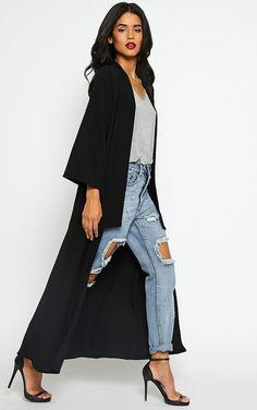 PrettyLittleThing Robin Black Maxi Duster Coat