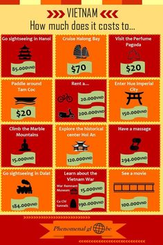 Going to Vietnam? Check which activities you can do in this awesome country and how much they cost! You can download this infographic as a pdf in the Phenomenal Globe Travel Planning Library => http://www.phenomenalglobe.com/travel-planning-library/