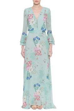 Vestido Crepe Floral Psicodelic Modest Fashion, Hijab Fashion, Fashion Dresses, Maxi Skirt Outfits, Cute Dresses, Summer Dresses, Chiffon Gown, Mode Hijab, Dress Patterns
