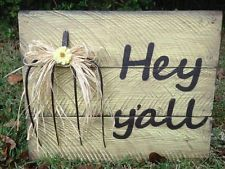 Pallet Wood Welcome sign hey y'all rustic farmhouse decor antique pitchfork