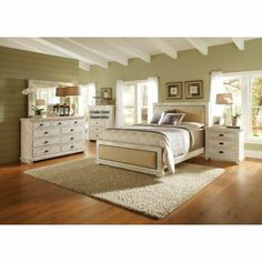 "Progressive ""Willow"" Collection 6-piece Distressed White Queen Bedroom Set"