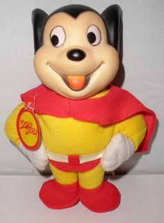 1988 Viacom Presents Mighty Mouse Vinyl Plush Doll With Vinyl Head And Tag #Presents