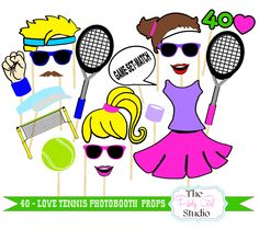 40 Love Tennis Photo Booth Props/Photobooth Props - DIGITL FILE by ThePartyGirlStudio on Etsy