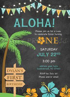 Luau First Birthday Invitation Hawaiian luau aloha luau