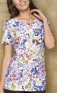 "Dickies Keyhole Top in ""Blooming-dale"" 84743-BDAL A classic Missy fit top features a shaped keyhole neckline with a button detail. Center front pleat, bust darts for shaping, double slanted pockets and side vents complete this top. Center back length: 27"". $22.50 #scrubs #scrubcouture #nurses"