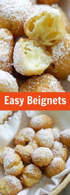 Beignet recipe - Easy Beignets Homemade beignets have never been so easy and delicious! This easy beignet recipe is failproof and so good you can't stop eating rasamalaysia com Just Desserts, Delicious Desserts, Dessert Recipes, Yummy Food, Deep Fried Desserts, Cant Stop Eating, Snacks, Baking Recipes, Pie Recipes