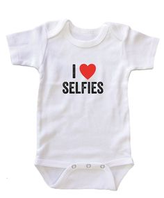 """""""I Heart Selfies"""" Baby Onesies: Baby Clothes, Babies Kiddos, Baby Couture, Baby Girl, Baby Onesie, Boy, Baby Stuff, Baby Shower"""
