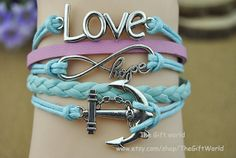 Silver Infinity Anchors bracelet  love charm by TheGiftWorld, $4.99 Stylish handmade leather bracelet,the best gift of friendship