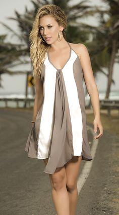 Mocha and White Sundress http://divashq.com/mocha-and-white-sundress #dresses #sundresses #summer #fashion