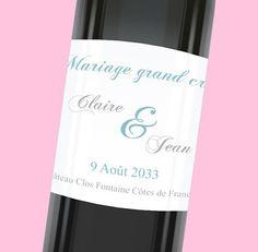 Etiquette de bouteille mariage simple et élégante pour habiller votre table, réf.N300766