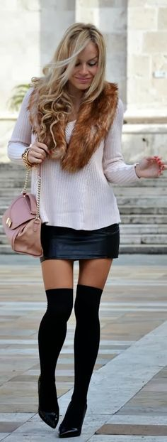 Cream sweater leather skirt high heel shoes
