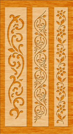 6 Border Cutting File For Laser, Cnc & Plasma, Cricut Floral Wall Stencil, Decorative Elegant Border Stencils - Six Tutorial and Ideas Laser Cut Stencils, Stencil Templates, Stencil Patterns, Stencil Designs, Cnc Plasma, Wood Panel Walls, Panel Wall Art, Border Design, Pattern Design