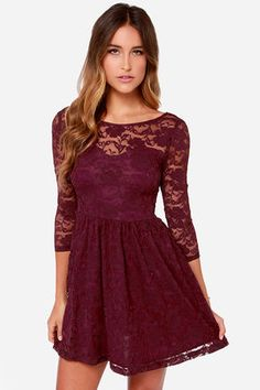 LULUS Exclusive Our Song Burgundy Lace Dress