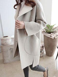 Wool Blend Turn Down Collar Casual Coats Wool blend turndown collar casual coats Winter Mode Outfits, Winter Fashion Outfits, Look Fashion, Autumn Fashion, Fashion Coat, Fashion 2020, Womens Tuxedo Jacket, Moda Formal, Coatdress