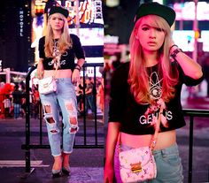 Forever 21 Genius Shirt, Shredded Jeans, Snapback, Louis Vuitton Mini Heartbreaker, Charlotte Olympia Dolly Pumps