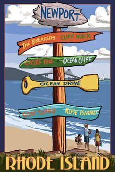 Newport, Rhode Island - Sign Destinations - Lantern Press Poster       #VisitRhodeIsland