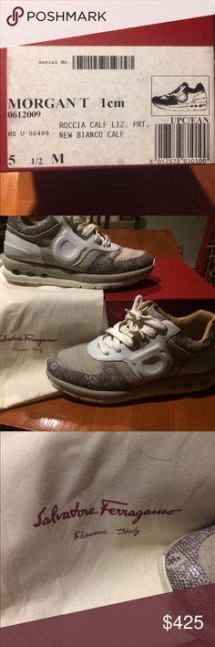 brand new 07c06 dc276 Salvatore Ferragamo Women s Morgan T 5 1 2 Morgan T Sneaker   Roccia Calf  Liz