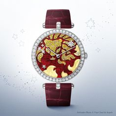 Poetic Astronomy by Van Cleef & Arpels. Lady Arpels Zodiac Leo timepiece from 'Extraordinary Dials' collection.