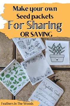 Backyard Projects, Cool Diy Projects, Garden Projects, Organic Gardening, Gardening Tips, Seed Packet Template, Free Printable, Printable Templates, Diy Envelope