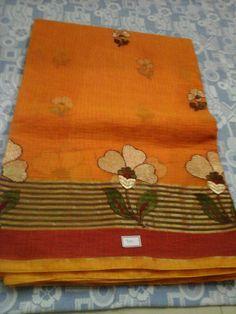 Embroidery on a bright Kota Sari