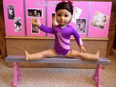 How to Make an American Girl Gymnastics Balance Beam American Girl Outfits, American Girl Crafts, American Girls, Girl Doll Clothes, Girl Dolls, Ag Dolls, Doll Crafts, Diy Doll, American Girl Doll Gymnastics