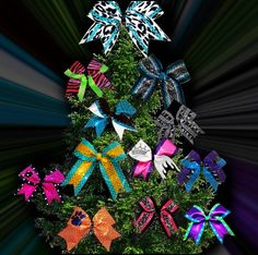 cheer bow Christmas tree!! everyone on the team bring their own bow to decorate it!