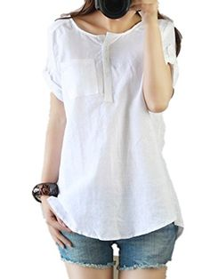 9a296eed8fc5e3 Womens Summer Casual Linen Cotton Short Sleeve Shirt Blouse Tops Plus Size      Want