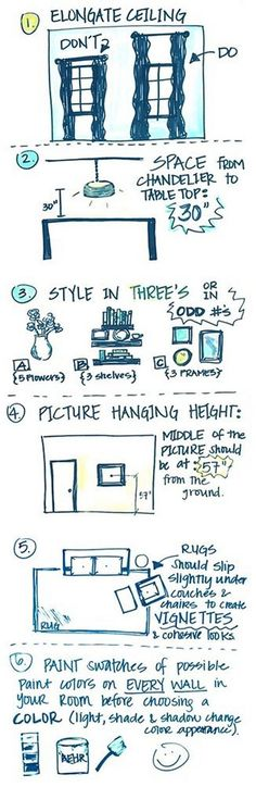 Interior Design Tricks and Rules. How to make your ceilings look taller. Distance from table to light fixture. How to decorate any room. Picture Hanging Height Tips. How to place furniture on rug. How to test your walls before painting. Paint Color Test.