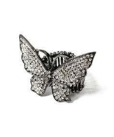 Loving this Gunmetal & Crystal Butterfly Stretch Ring on #zulily! #zulilyfinds