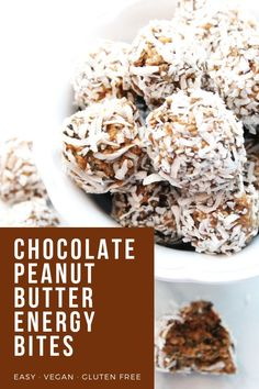 These chocolate peanut butter power bites are the perfect high protein power up. They are vegan, gluten free and don't require any baking. Perfect as an anytime snack or to pack in school lunches. Peanut Butter Energy Bites, Peanut Butter No Bake, Chocolate Peanut Butter, Gluten Free Snacks, Vegan Snacks, Vegan Gluten Free, Healthy Snacks, Dairy Free, Healthy Eating
