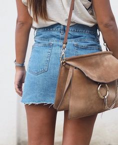 ~ @carasfl0wers ~ // jean skirt // suede purse // cute outfit // summer //