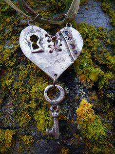 "Handmade bronze mended broken heart with garnet gemstones ""Survivor"", steampunk, OOAK"