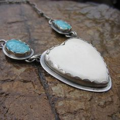 Turquoise and Bone Heart Sterling Silver Necklace by MyWifesStudio
