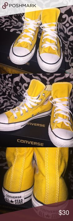 Yellow Hip Top Converse Literally worn once ! Great condition just needs washing. Wore them in a park so that's why they are dirty. Converse Shoes Sneakers