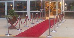 Red carpet stanchion for guest arrrival at venue  #Atlanta #chrome #silver #stanchion #rental