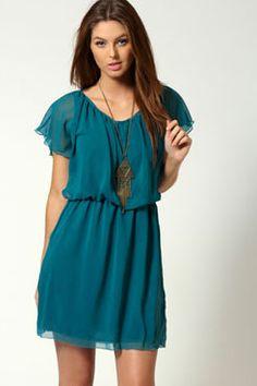 Ava Chiffon Angel Sleeve Dress
