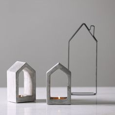 These concrete house candle holders are a great way to add a modern-industrial look to any space! A great addition to a bookshelf, your nightstand, or placed in your bay window. Details: inches Tealight not included Listing for 1 candle holder House Candle Holder, Concrete Candle Holders, Lantern Candle Holders, Cement House, Concrete Houses, Concrete Building, Concrete Crafts, Concrete Projects, Concrete Design