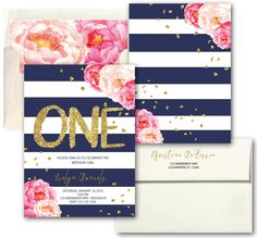 Peony Gold Pink Navy Stripes First Birthday Invitation // One // Navy Stripes // striped // Floral // Gold Glitter // CLEARWATER COLLECTION by MerrimentPress on Etsy https://www.etsy.com/listing/483655718/peony-gold-pink-navy-stripes-first