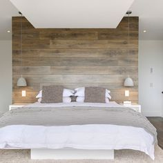 Wood panel accent wall bedroom accent wall ideas different ways to cover your walls in wood . Scandinavian Design Bedroom, Accent Wall Bedroom, Contemporary Bedroom, Bedroom Interior, Rustic Bedroom, Bedroom Wall, Bedroom Decorating Tips, Elegant Bedroom, Small Bedroom